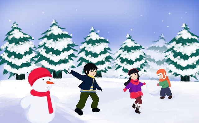 snowman playing snowballs outside happy mood cold fir tree wallpaper llustration image