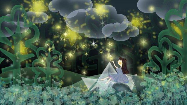 紙の船の上に座って通気性の女の子の女の子の星 イラストレーション画像 イラスト画像