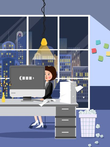 business office simple late night overtime scene llustration image