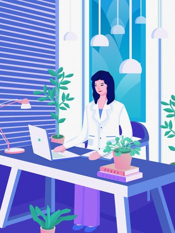 business office girl watching computer scene vector illustration llustration image