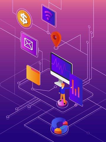 Бизнес офис финансы простая 2 5d плоская иллюстрация Ресурсы иллюстрации