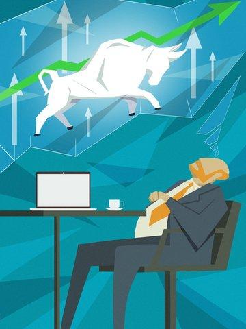 フラットウィンドビジネスオフィス株式市場強気ベクトルイラスト イラスト素材