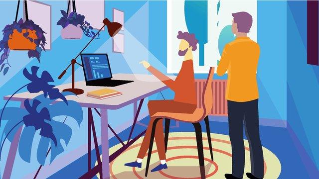 Original business office vector illustration, Business Office, Vector Illustration, Designer illustration image