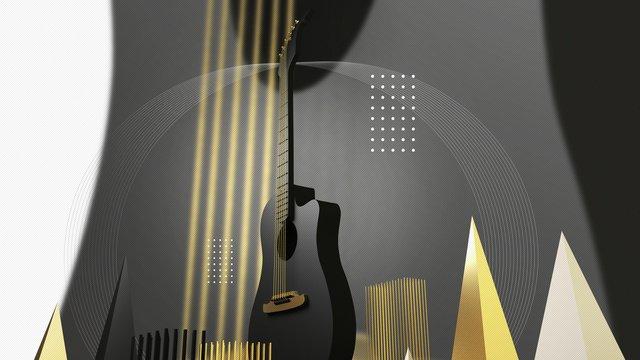 c4d креативная гитара музыка черное золото музыкальный инструмент сцена стерео иллюстрация Ресурсы иллюстрации Иллюстрация изображения