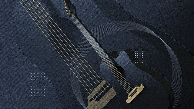 c4d creative guitar music black gold musical instrument scene stereo illustration llustration image illustration image