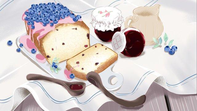 下午茶甜品可愛插畫 插畫素材