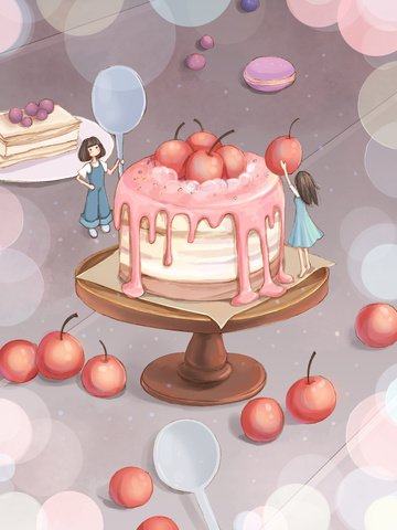 Original food illustration dessert big combat girl eat cake llustration image