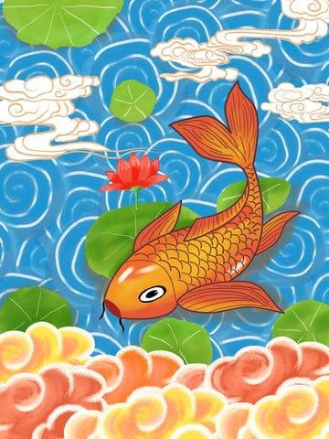 koi transporting tide cartoon llustration image illustration image
