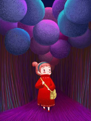 Coil cure is dreamy girl and balloon, Child, Cartoon, Fantasy illustration image