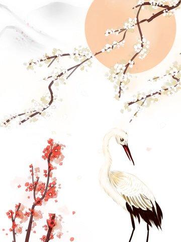 चीनी स्याही क्रेन सफेद बेर चित्रण छवि चित्रण छवि