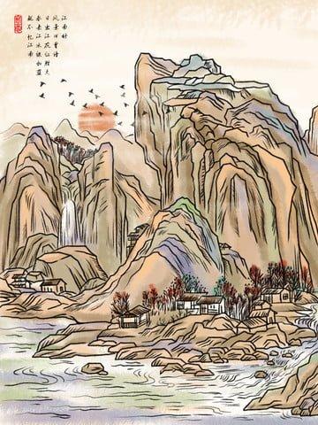 中國風水墨國畫風景山水插畫 插畫素材 插畫圖片