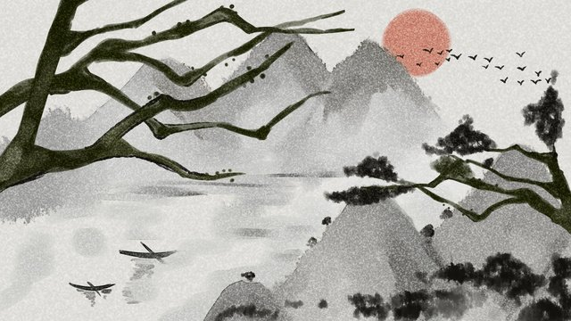 Chinese style ink illustration, Chinese Style, Ink, Illustration illustration image