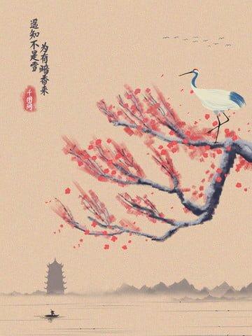 復古水墨冬季梅花百搭二十四節氣山水墨畫 插畫素材