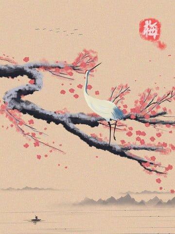 復古水墨冬季梅花中國風仙鶴百搭節氣山水墨 插畫素材 插畫圖片