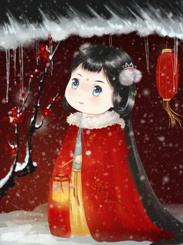 original chinese style thick painted cute version of the winter lantern girl llustration image