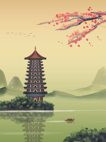 中國風山水墨畫復古建築青山綠水煙雨江南 插畫素材 插畫圖片