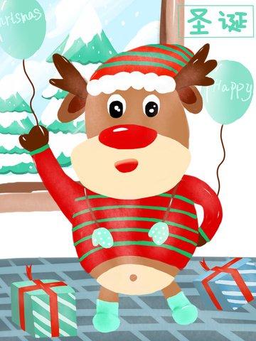 귀여운 그림 크리스마스 엘크 삽화 소재 삽화 이미지