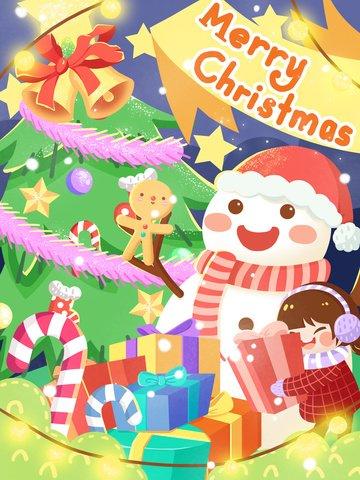 क्रिसमस ट्री के नीचे स्नोमैन और बच्चे को उपहार चित्रण छवि