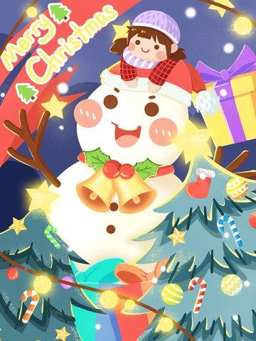クリスマス雪だるまと女の子を歓迎するクリスマス イラスト画像