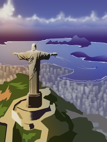 도시 실루엣 브라질 리오 랜드 마크 일러스트 레이션 삽화 소재 삽화 이미지