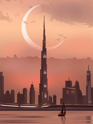 City silhouette dubai landmark burj khalifa llustration image