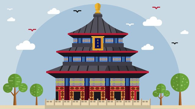 Flat silhouette of the city wind temple llustration image