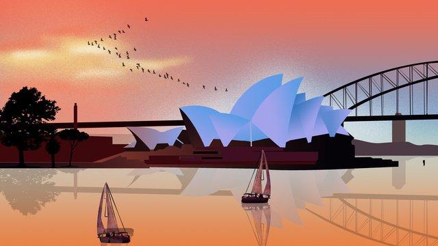 유명한 랜드 마크 시드니 실루엣 삽화 소재 삽화 이미지