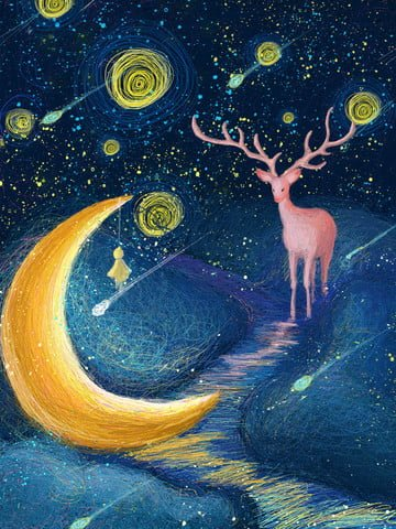Coil cure fantasy starry sky elk, Coil, Cure, Elk illustration image