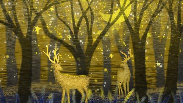 線圈治愈奇妙星空下的鹿 插畫素材