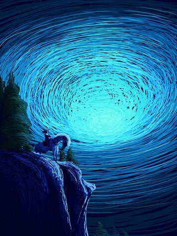 Coil healing is a wonderful starry sky vortex fantasy look illustration, Coil Cure, Wonderful, Universe illustration image