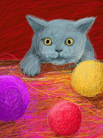 Coil Cute pet cure Cat, Line Ball, Matching, Illustration illustration image