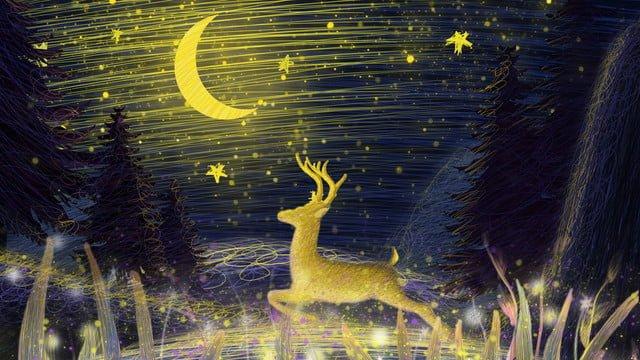 コイルイラスト美しい癒し系鹿ランニング イラスト素材 イラスト画像