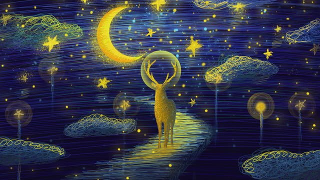 The coil cures deer on wonderful starry sky ladder, Coil, Healing, Starry Sky illustration image