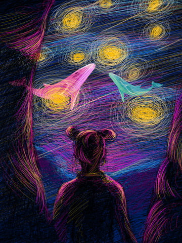Coil illustration beautiful healing girl back dreaming starry sky, Coil Illustration, Aesthetic Healing System, Girl Back illustration image