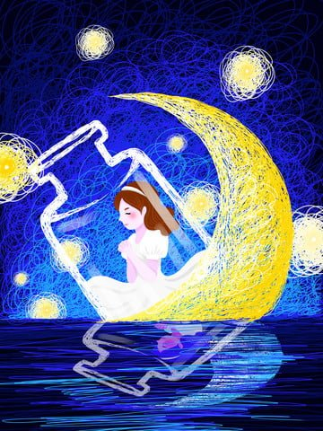 coil cure is a fantasy starry sky girl wishing illustration illustration image