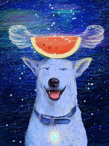 Coil illustration beautiful healing system husky to eat melon people dream, Coil Illustration, Husky, Eating Melons illustration image