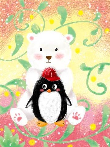 कुंडल चित्रण थोड़ा पेंगुइन और सफेद भालू चित्रण छवि चित्रण छवि