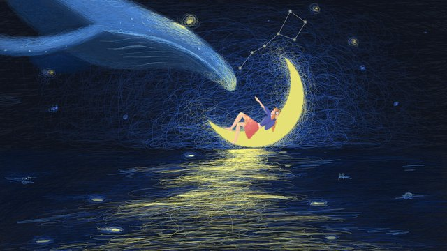 Coil illustration Starry sky Healing moon, Whale, Little Girl, Small Fresh Illustration PNG và PSD hình ảnh minh họa