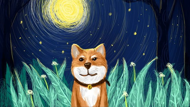 Катушка Впечатление Смазливая pet series moonlight Милая Собака Иллюстрация Плакат Ресурсы иллюстрации Иллюстрация изображения