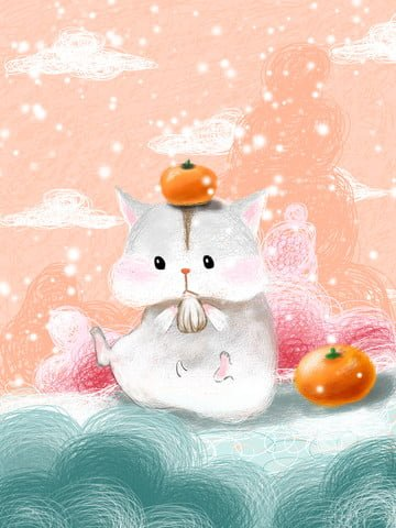 Coil cute little hamster, Coil Impression, Illustration, Painting illustration image