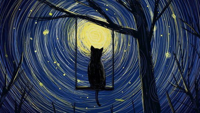coil impression cute pet series moonlight cat illustration poster llustration image illustration image
