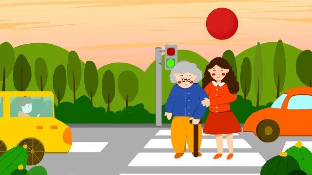 छोटे ताजा चित्रण अंतरराष्ट्रीय स्वयंसेवकों के दिन पुराने दादी सड़क पार करते हैं चित्रण छवि