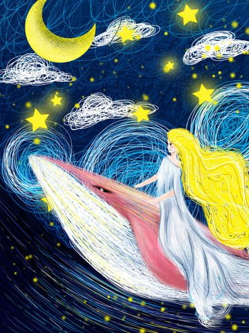 cure Coil wind Starry sky whale, Girl, Illustration, Painting illustration image