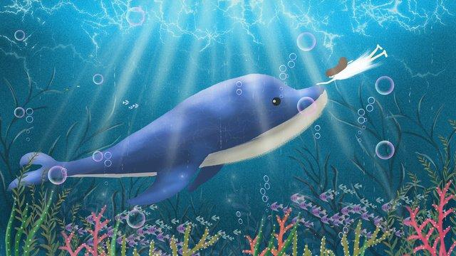 हीलिंग सुंदर सपना पानी के नीचे की दुनिया समुद्र नीला व्हेल चित्रण पोस्टर देखें चित्रण छवि
