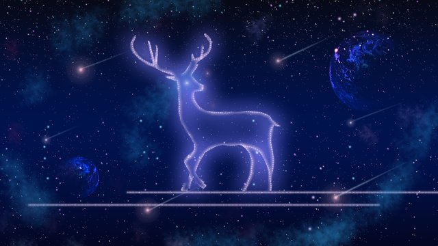 癒し系美しい星空抽象鹿おやすみこんにちはイラストポスター治療法  星空  鹿 PNGおよびPSD illustration image