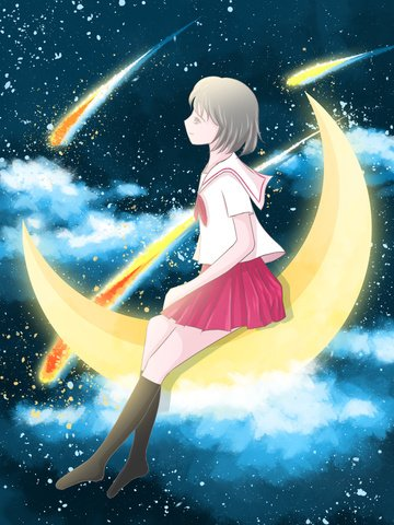 Girl with a cure starry sky illustration sitting on the moon watching meteor, Cure, Starry Sky, Moon illustration image