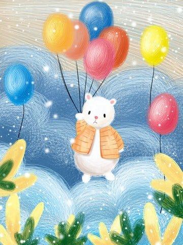 प्यारा पालतू सा सफेद भालू गुब्बारा चित्रण चित्रण छवि