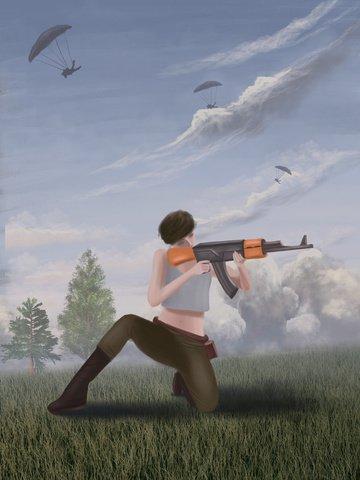 Hand-painted realistic stimuli battlefield female warrior ak47 illustration, Dajidali Eats Chicken Tonight, Jedi Survival, Female Warrior illustration image