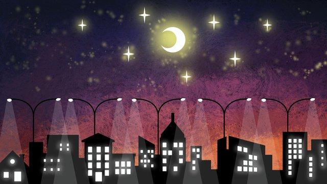 Coil illustration starry sky background scene gradient midnight city, Decorative Paintings, Illustration, Wallpaper illustration image