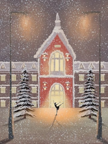 beautiful snow scene french style city night winter hello good llustration image
